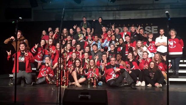 Green Bay East's ''Rhapsody in Red'' take top honors in the Tier II division at John Hersey in Illinois